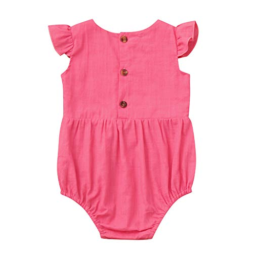 AutumnFall 0-24M Newborn Infant Baby Girls Ruffled Flying Sleeve Casual Romper Sunsuit Bodysuit (Age:0-6 Months, Hot -