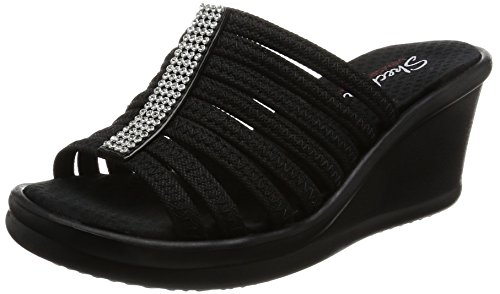 Skechers Cali Women's Rumblers Hot Shot Wedge Sandal, Black, 8.5 M US