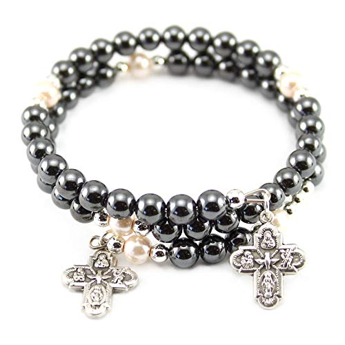 Hematite Beads Wrap Around Rosary Bracelet