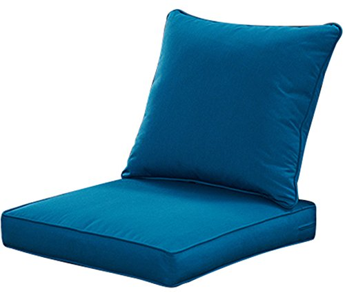 QILLOWAY Outdoor/Indoor Deep Seat Chair Cushions Set,Replacement Cushion for Patio Furniture,Peacock Blue (Outdoor Covers Home Depot Furniture)