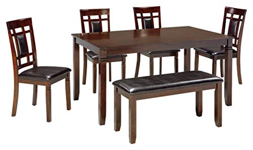 (Ashley Furniture Signature Design - Bennox Dining Room Table and Chairs with Bench (Set of 6) - Brown)