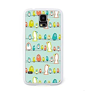 CaseCityLiu - Birds stand on the Line Cartoon Sweet Pattern Design White Bumper Plastic+TPU Case Cover for Samsung Galaxy S5