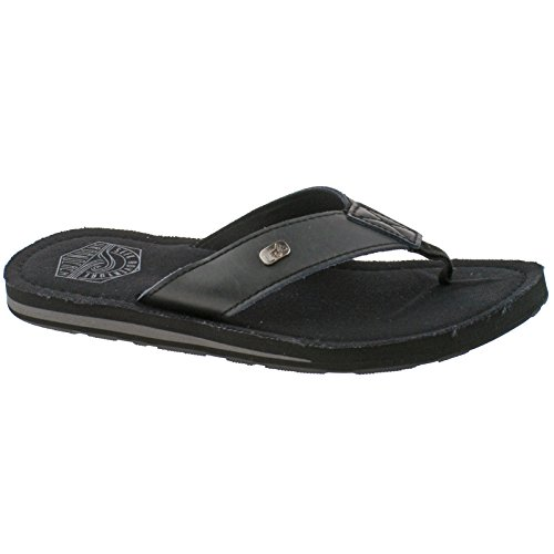 Urban Beach Mens Kaneohe Black Leather Toe Post Flip Flop Beach Sandals -UK 6 (EU 39/40)
