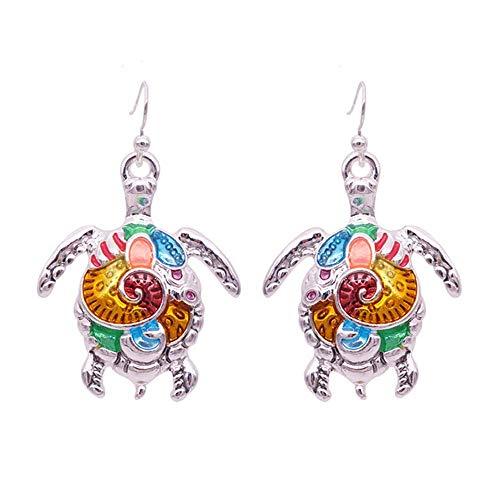 (TULIP LY Charm Colorful Enamel Sea Animal Dangle Earring Silver Tone Cute Enamel Hook Earrings Sea Turtle Crab Fashionable Drop Earring for Women Girls Unique Jewelry Gift and Souvenir (Turtle) )