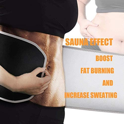 Gym Waist Trimmer for Women and Men,Sweat Wrap Belt,Belly Fat Slimming Waist Sweat Belt,Sauna Weight Trainer Suit for Lose Weight,Neoprene Ab Belt Low Back and Lumbar Support+Free Sample of Sweat Gel 3