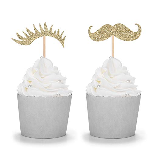 24 Gold Glitter Stashes or Lashes Cupcake Toppers for Gender Reval Party Baby Shower -