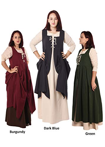 byCalvina - Calvina Costumes Bella Medieval Viking LARP Pirate Renaissance Dress Overdress - Made in Turkey, Dark Blue, 2XL