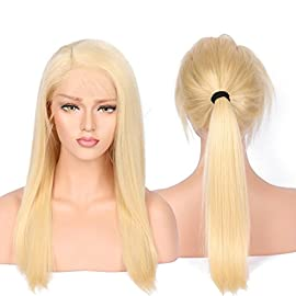 BEEOS 8A Blonde Human Hair Wigs with Baby Hair for Women Natural Looking Silky Straight Brazilian Remy Lace Front Human Hair Wigs Natural Hairline 130 Density 16inch