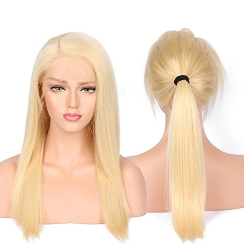 BEEOS 8A Blonde Human Hair Wigs with Baby Hair for Women Natural Looking Silky Straight Brazilian Remy Full Lace Human Hair Wigs Natural Hairline 130 Density 16inch