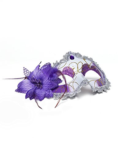 [Jevenis Venetian Masquerade Masks Mardi Gras Costume with Feather Flowers Hallowee Cocktail Party Mask] (Purple Feather Mask)