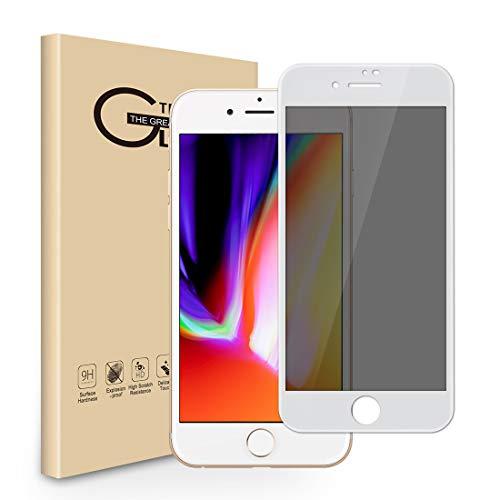 背景チャレンジ簡単に覗き見防止フィルム iPhone8/iPhone7 ガラスフィルム のぞき見防止 180°覗き見防止 プライバシー保護フィルム 3d touch対応 硬度9h 気泡防止 指紋防止 スクラッチ防止 撥油性(iPhone8/iPhone7,ホワイト)