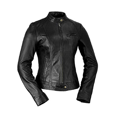 (Whet Blu Women's Classic Scooter Style Leather Jacket - Black-L)