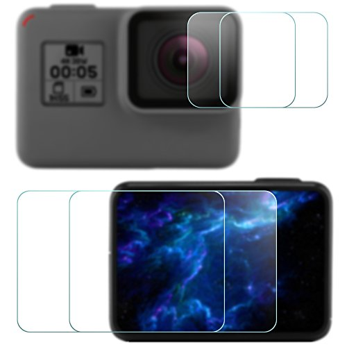 Screen Protector for GoPro Hero 5 Black Sport Camera (Screen and Lens), AFUNTA 2 Pack (4 Pcs) Anti-scratch Hero5 Tempered Glass Film Accessory (Anti Scratch Function Protects compare prices)