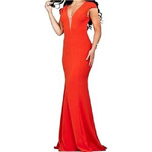 Jovani Women's Coral RED Open-Back Long Gown Dress Formal Prom Pageant SZ 8 ()