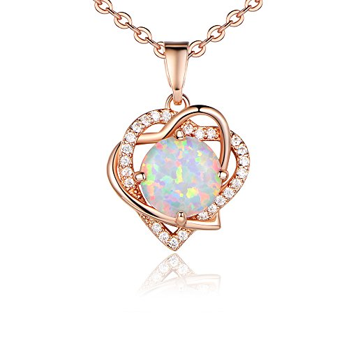 Opal Necklace Best Gift Her, Rose Gold Plated Heart Shape Pendant Necklace Women