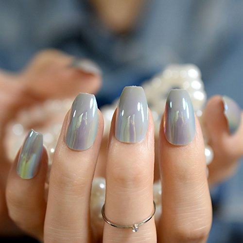 24Pcs Coffin Design Nail Kit Black Flat Medium Women Finger Matte Fake Nails Art For Decoration DIY Manicure Accessories Z845 grey -