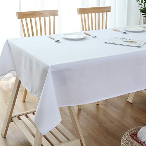 Lespoir White Water Resistant Spill-Proof Tablecloth Rectangular White Tablecloth Kitchen Table Cloth Rectangle for Kitchen White 54x72 Inch