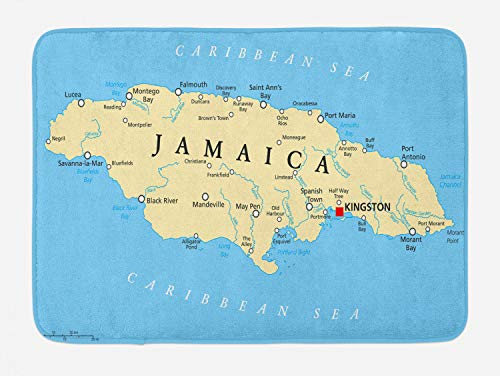 Ambesonne Jamaican Bath Mat, Map of Jamaica Kingston Caribbean Sea Important Locations in Country, Plush Bathroom Decor Mat with Non Slip Backing, 29.5 W X 17.5 L Inches, Blue Beige