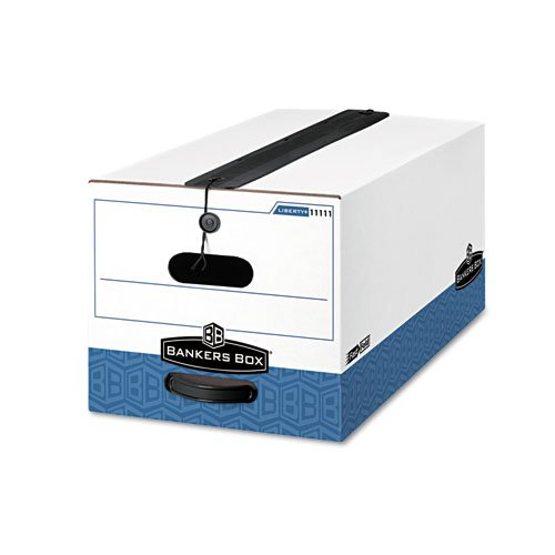 Bankers Boxamp;reg; - Liberty Plus Storage Box, Legal, String/Button, White/Blue, 12/Carton - Sold As 1 Carton - Includes a 3amp;quot; seal that protects stored files from dust and dirt and ensures a flat top for stable stacking.