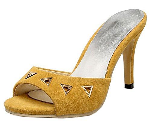 Enfiler Mules Stiletto Talon Fermeture Fashion Femme Easemax Aiguille Jaune à PSv7Ixcq