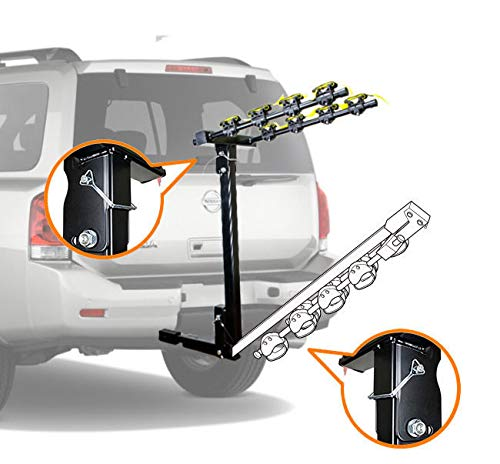 CyclingDeal 4 Bicycle Bike Rack Hitch Mount Car Carrier 1.25 Receiver with 2 Adaptor