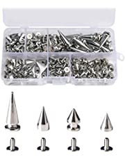 80 Sets Punk Spikes and Studs Kit, Metal Silver Cone Rivet with Screwbacks for DIY Crafts Cool Clothes Belts Bags Shoes Necklaces Accessories (4 Sizes)