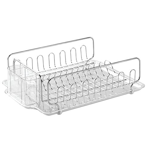 iDesign Forma Stainless Steel Sink Dish Drainer Rack with Tray Kitchen Drying Rack for Drying Glasses, Silverware, Bowls, Plates, Clear