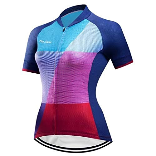 (Women Summer Cycling Jersey Set Full Zip Bicycle Clothing Sport Outfit wear)