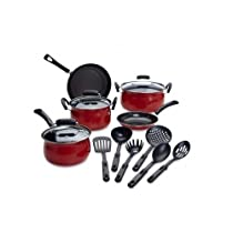 Essential Cookware Set 14 Piece Complete Home Kitchen Cooking Kit with Pots Pans Lids & Utensils (Red)