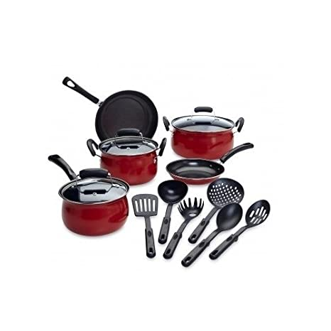 Amazon.com: Essential Cookware Set 14 Piece Complete Home Kitchen Cooking Kit with Pots Pans Lids & Utensils (Red): Kitchen & Dining