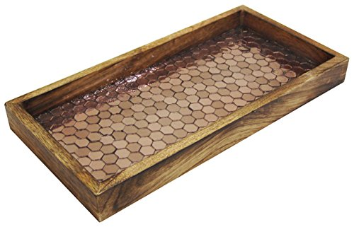 Rectangular Tray Wooden (nu steel Copper Mosaic Wooden Tray)