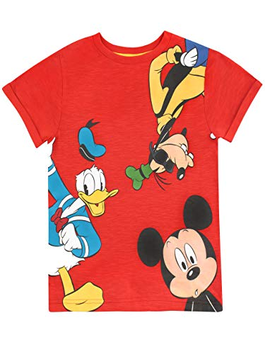 Disney Boys' Mickey Mouse Donald Duck & Goofy T-Shirt Size 18M Red