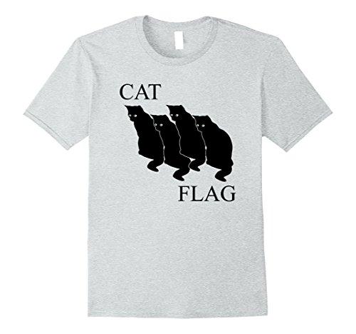 Mens Cat Flag Funny Black Flag T-Shirt Large Heather - Cat Flag