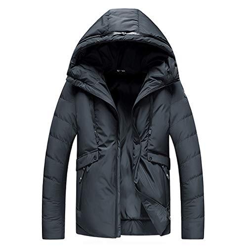 wuliLINL Men's Softshell Hooded Jacket Casual Thicken Quilted Packable Hood Outwear Winter Hood Coat Zipper Long Sleeve Puffer Windbreaker(Black,M)