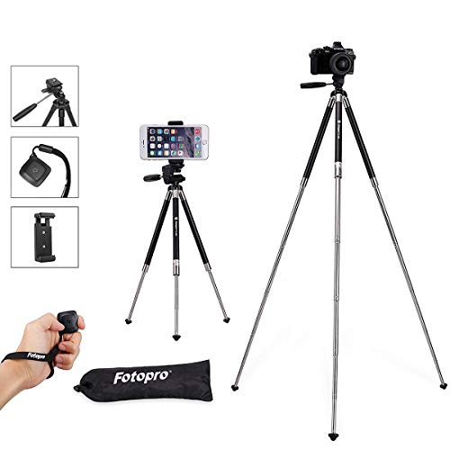 - Fotopro Phone Tripod, 39.5 Inch Tripod for iPhone, Travel Tripod with Bluetooth Remote/Smartphone Mount, Lightweight Tripod for Samsung, Huawei