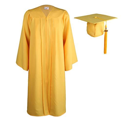 OSBO GradSeason Unisex Matte Adult Graduation Gown Cap Tassel Set 2019 Gold ()