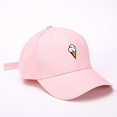 Mens Womens Couple Peaked Caps Hip Hop Curved Snapback Fresh Cute Icecream Baseball Caps Adjustable Cotton Washed Hat (Pink) by Aurorax Hat (Image #4)