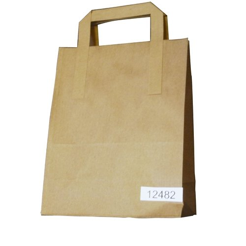 SOS Paper Bag Medium Take-Away Brown Block Bottom Flat Handle