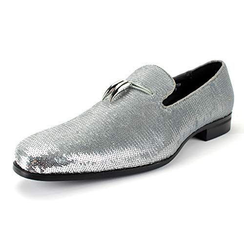 AFTER MIDNIGHT 6759 Smoking Slipper with Shiny Sequins Smoker Loafer with Metal Horns Ornament (10 D(M) US, Silver) ()