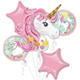 5 in 1 Partigos Unicorn Theme balloons 18 inch star Round Balloon Birthday Party Decor Kids Rainbow Balloons Unicorn Party Supplies