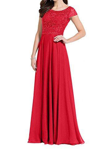 Lang Damen Brautmutterkleider Abendkleider Chiffon Blau Charmant Rot A Linie Spitze Partykleider 0wTdYF