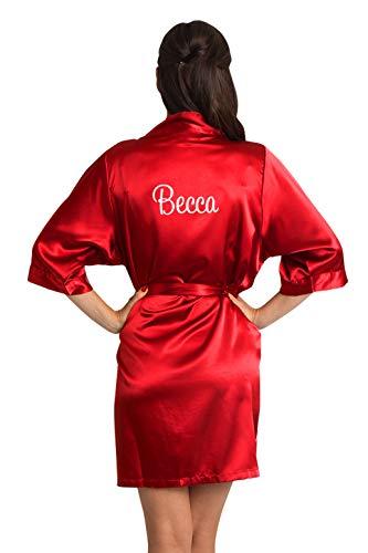 (Zynotti Women's Personalized Embroidered Satin Robe Red Satin Robe S/M)