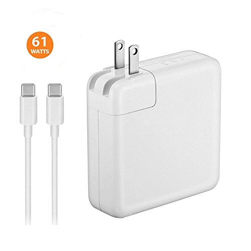 USB-C 61W Power Adapter for MacBook Pro 13-inch Touch Bar Two and Four Thunderbolt 3 ports Replace 2016 2017 to current Apple 61W MNF72LL/A A1706 Power Adapter PD With USB C to USB C Cable.