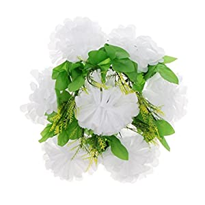 Baoblaze Artificial Chrysanthemum Wreath Funeral Memorial Aisle Main Road Flower Pillar 6