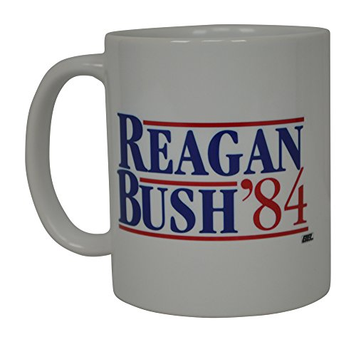 Reagan Bush 1984 Coffee Mug Election President On The United States 84 Retro Flag Novelty Cup Gift Idea Conservative Republican Ronald Reagan George Bush