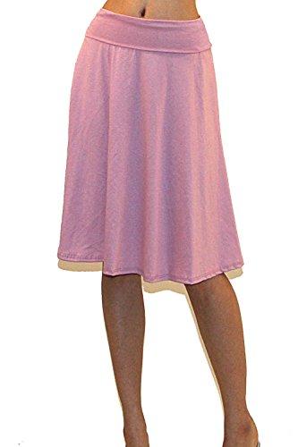 (Vivicastle Women's Basic Fold-Over Stretch Midi Knee Length Flare Skirt - Made in USA (Large, K6, Mauve))