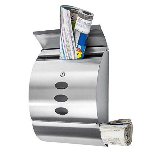 New Modern Stainless Steel Wall Mount Mail Box Letter Bills Magazine Mailbox with Retrieval Door, Newspaper Roll, and 2 keys Post Box Security Heavy Gibraltar by Royal Security USA (Image #9)