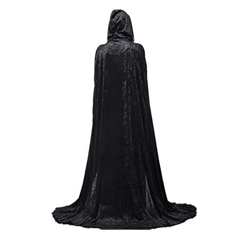 Long Black Dress Halloween Costumes (Unisex Death Hooded Halloween Costumes Cape 59 Inch Full Length Vampire Cloak Robe Masquerade Costumes)