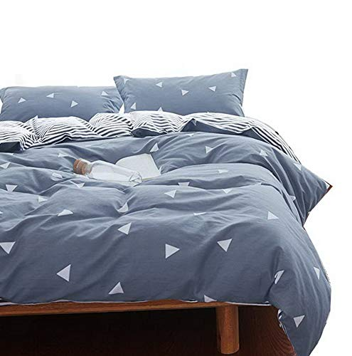 (Hemau Premium New Soft 3 Piece Blue Gray Twin Set (1 + 2 Pillow Sha) 800 TC Luxury Hypoallergenic Comforter Cover Corner Ties Gift Choice for Kids Teens Boys Girls)