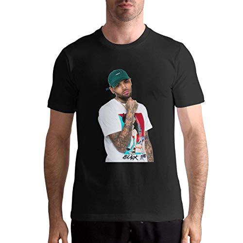 (Cvvedcbf Chris Brown T-Shirts Mens Cotton Short Sleeve O Neck Tops Tees,Black,L)
